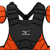 Mizuno Samurai Chest Protector  - 16 inch Blk/Orange