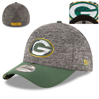 New Era NFL Green Bay Packers Heathered Gray/Green 2016 NFL Draft 39THIRTY Flex Cap