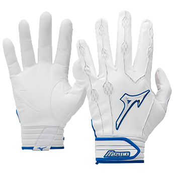 Mizuno Covert leather Batting Gloves White / Royal trim
