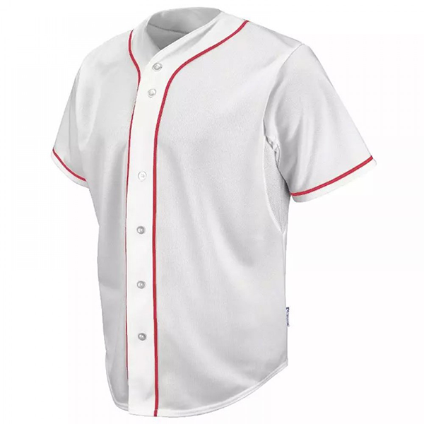 Teamwork Athletic Walk Off Full Button Piped Jersey 1825b White/Scarlet