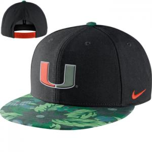 Nike NCAA Miami Hurricanes Black True Snapback Floral Hat