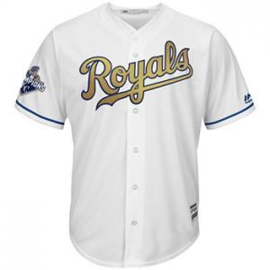 Majestic MLB Kansas City Royals 2015 World Series Cool Base® Gold Detail + Commemorative  - Champions Patch Limited Edition