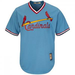 Majestic MLB St. Louis Cardinals Cool Base Columbia Blue Cooperstown Jersey