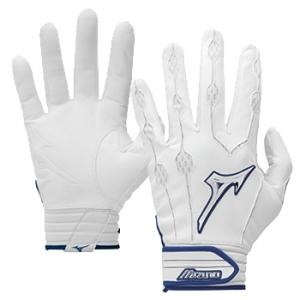 Mizuno Covert leather Batting Gloves White / Navy trim