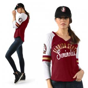 Touch-Alyssa Milano NCAA Florida State Seminoles  American football College Women's 3/4-Sleeve Raglan V-Neck T-Shirt