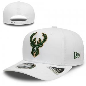 New Era NBA Milwaukee Bucks White Base Stretch Snap 9FIFTY Cap