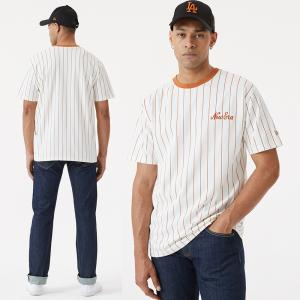 New Era Branded Oversized Pinstripe Tee